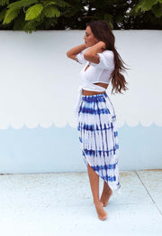 Electric Blue Wrap Overlay Skirt Feather Fox