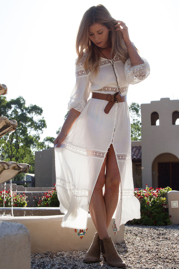 Wild Wild Horses White Lace Maxi Dress / Duster Feather Fox Boutique