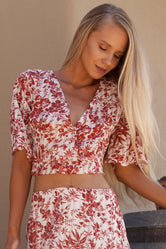 Burnt Rose Floral Crop Top