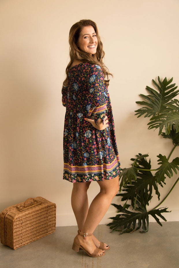 Floral Garden Dress - Retro Inspired Boho Dress Feather Fox Boutique