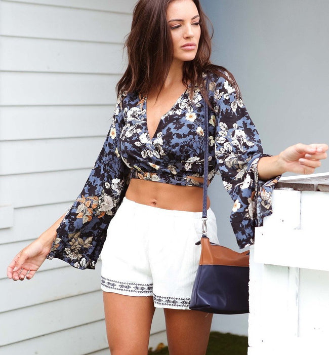 Floral Wrap Top Feather Fox