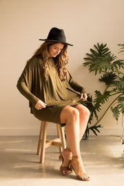Forest Green Layered Bamboo Dress - Feather Fox Boutique Australia