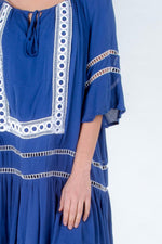 Maternity Womens Fremantle Royal Blue Plus Size Boho Dress