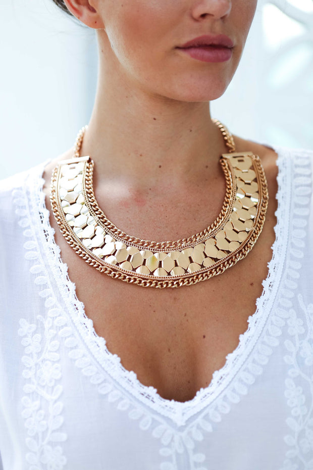 Gold Metal Aztec Curved Collar Womens Necklace