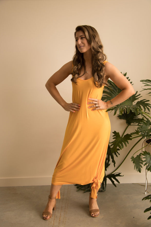 Gold Bamboo Maxi Dress Feather Fox Boutique