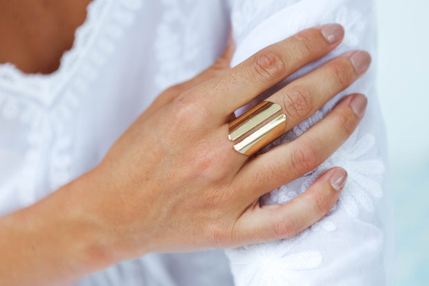 Gold Curved Open Women's Ring