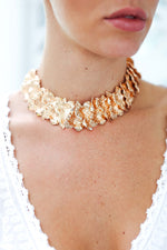 Gold Lilly Pad Choker Necklace from Feather Fox Boutique