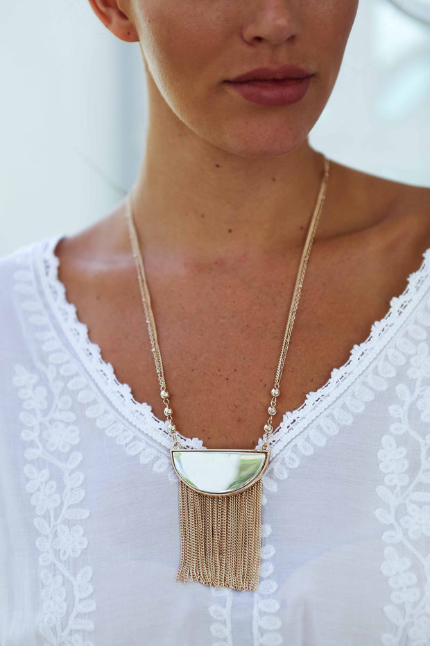 Golden Metal Fringe Necklace