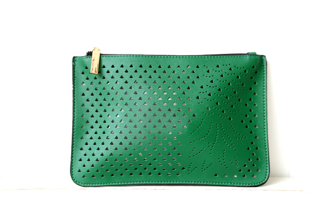 Green Pineapple Zip Top Clutch Bag Feather Fox