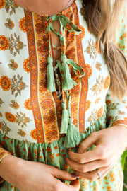 Green Retro Floral Tunic Boho Dress Feather Fox Boutique Australia