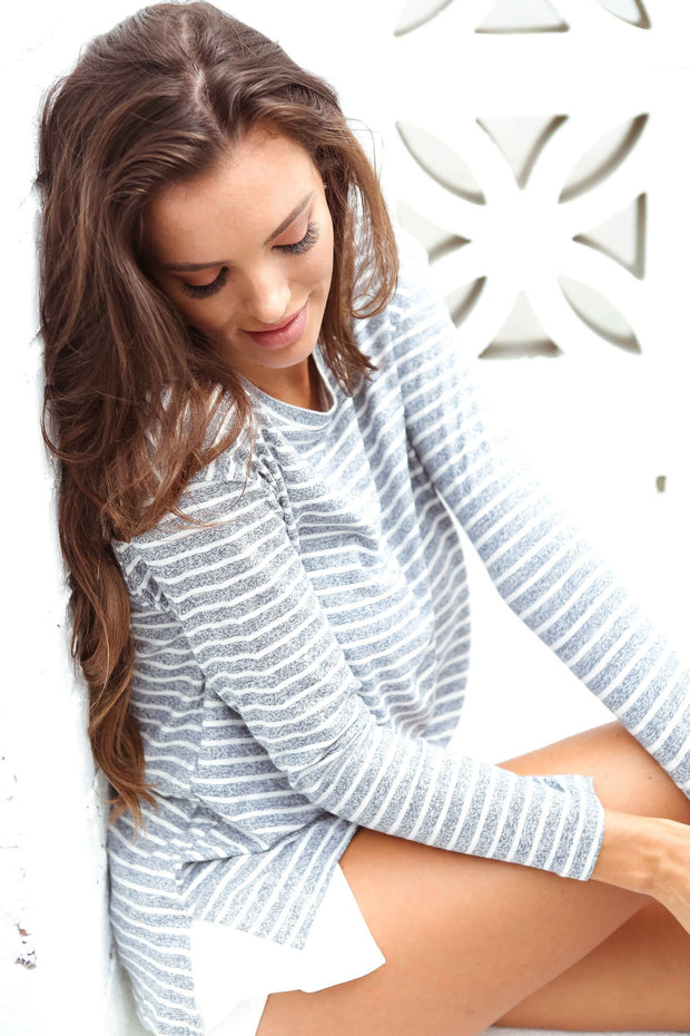 Grey Marle Stripe Long Sleeve Tee Feather Fox Boutique