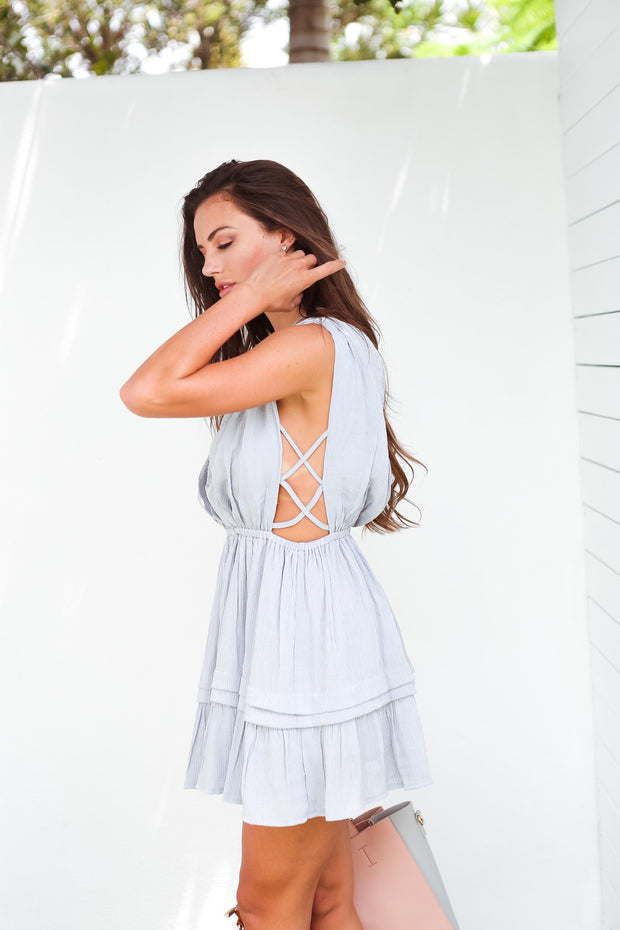 Grey Wild Heart Mini Dress Feather Fox Boutique