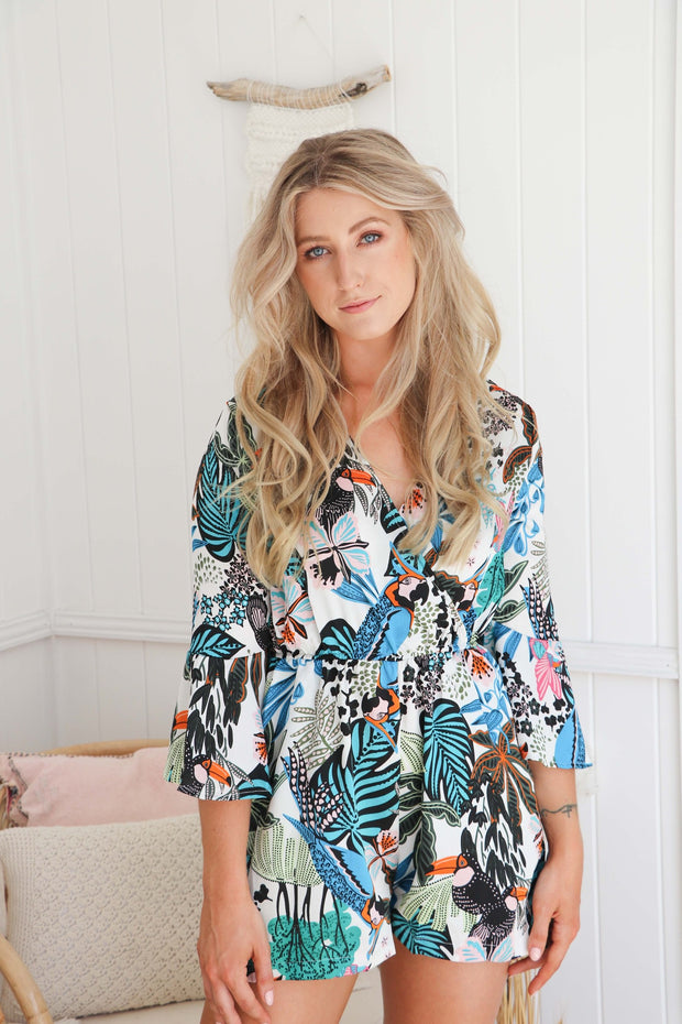 Jungle Playsuit Romper Summer Bohemian Feather Fox Boutique