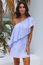 Katherine Blue Stripe Dress Womens Clothing Feather Fox