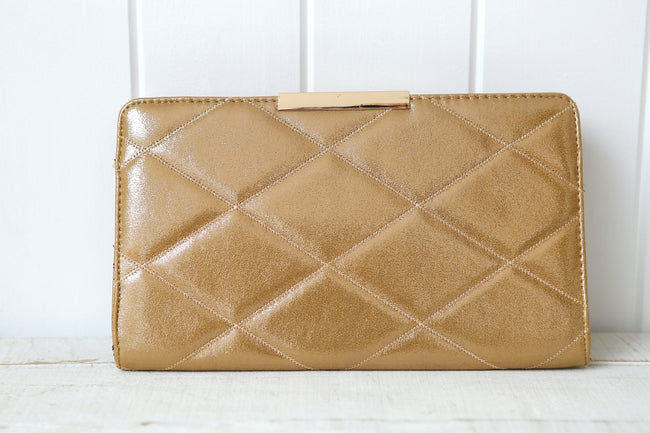 Large Diamond Curved Clutch Bag