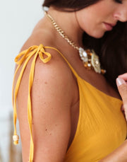 Light Mustard Boho Dress Feather Fox