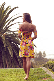 Light Mustard Rose Bandeau Boho Short Dress