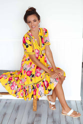 Light Mustard Rose Gypsy Short Dress