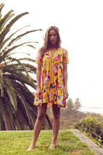 Gypsy Short Dress Light Mustard Rose