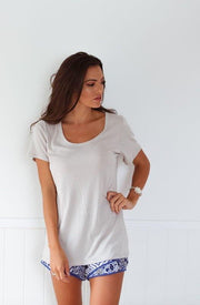 Light Taupe Scoop Neck Tee Feather Fox Boutique Basics