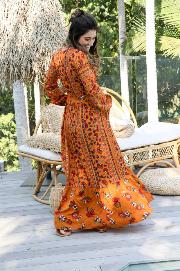 Long Sleeve Floral Boho Maxi Dress Feather Fox Boutique Gold Coast