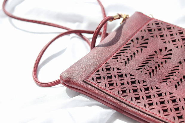 Maroon Boho Vegan Leather Zip Pouch Crossover Bag Feather Fox Boutique Queensland