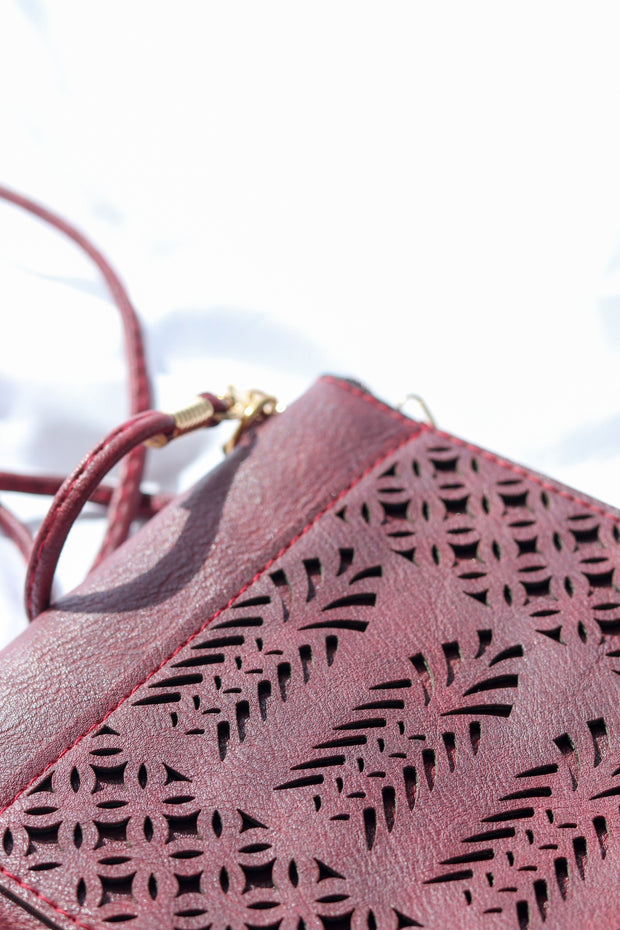 Maroon Boho Vegan Leather Zip Pouch Crossover Bag Feather Fox Boutique Gold Coast