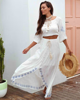 Marrakech White Boho Skirt