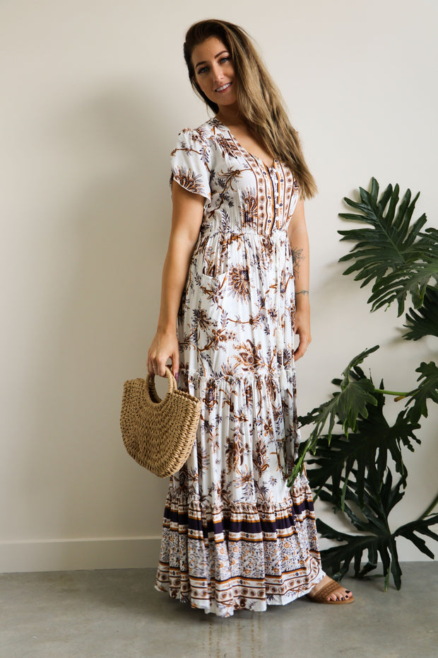 Matilda Coffee Fern Button Up Maxi Dress