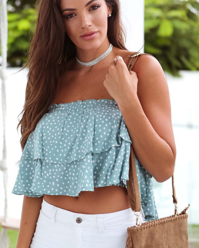 Mint Polkadot Ruffle Strapless Top Feather Fox Boutique