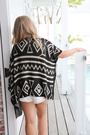 Morgan Tribal Boho Poncho Knit Top Feather Fox Boutique