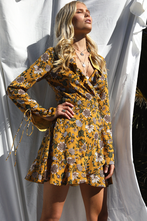 Mustard Poppy Wrap Gypsy Dress Feather Fox