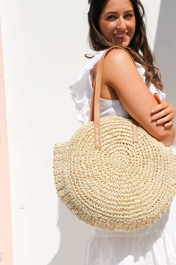 Natural Round Straw Bag Feather Fox Boutique Burleigh Heads