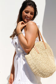Natural Round Straw Bag Feather Fox Boutique Gold Coast