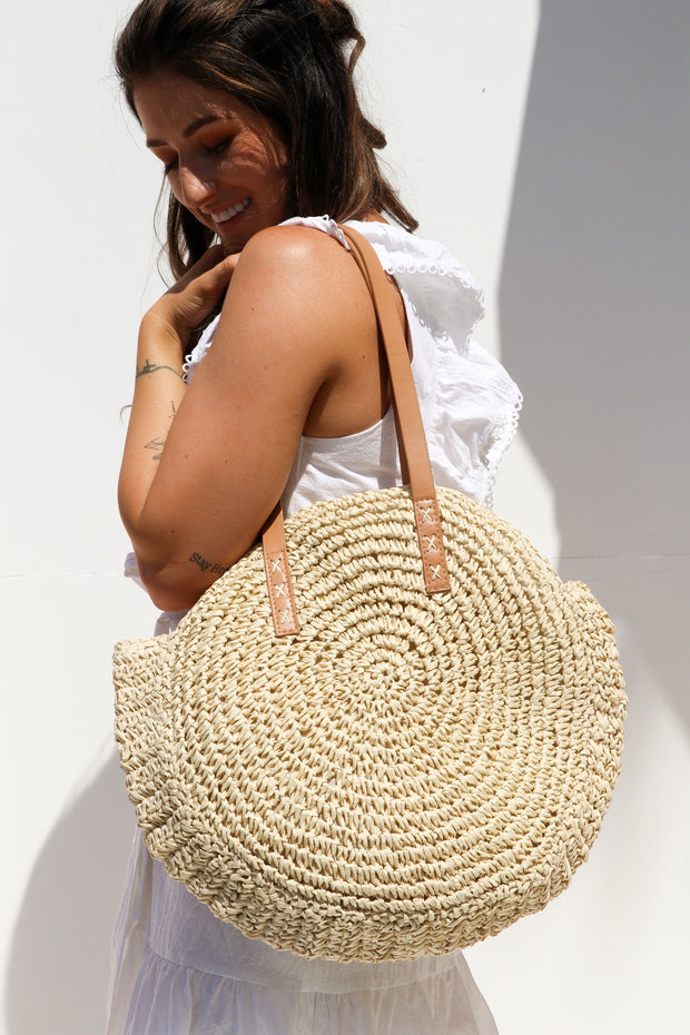 Natural Round Straw Bag Feather Fox Boutique QLD