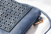 Navy Blue Boho Vegan Leather Zip Pouch Crossover Bag Feather Fox Boutique Queensland