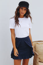 Navy Embroidered Skirt Womens Clothes Feather Fox