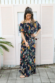 Navy Floral Frill Maxi Dress Feather Fox Boutique Gold Coast Burleigh Heads