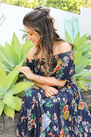 Navy Floral Frill Maxi Dress Feather Fox Boutique Gold Coast