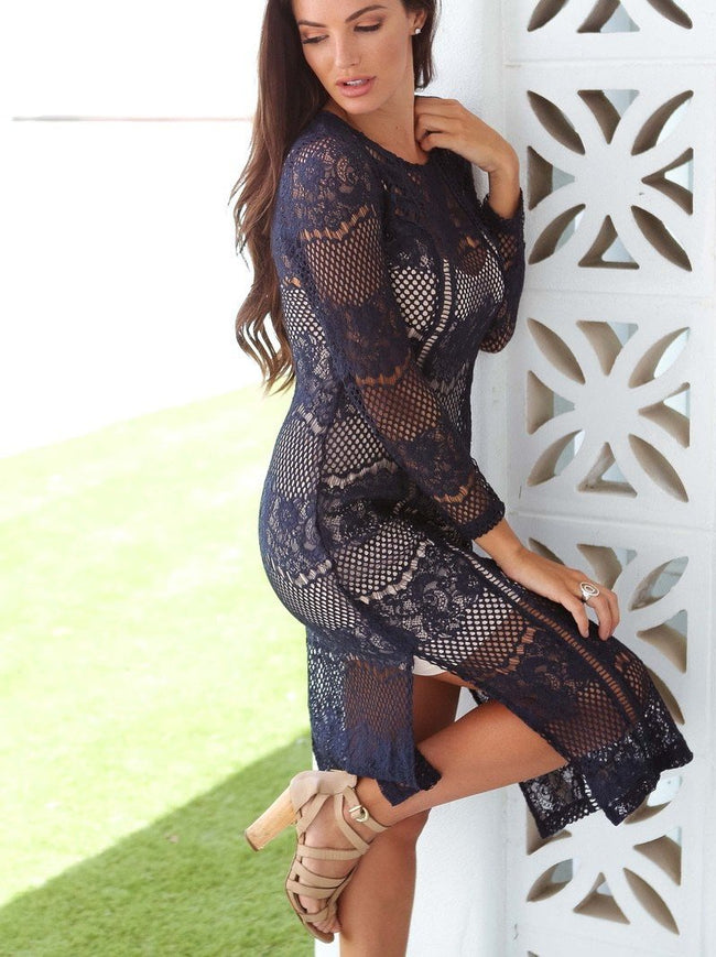 Navy Lace Chic Dress Feather Fox