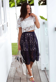 Navy Lace Chic Skirt Feather Fox