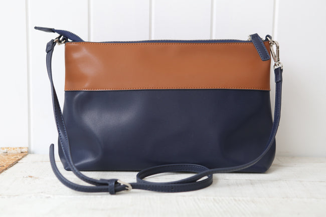 Navy & Tan Panelled Cross Handbag Feather Fox Boutique