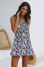 Navy Vintage Floral Sun Dress Womens Clothing Feather Fox