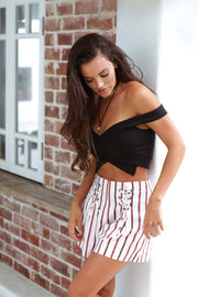 Off Shoulder Black Crop Top Feather Fox