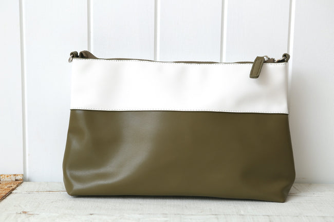 Olive & White Panelled Cross Handbag Feather Fox