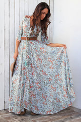 Pale Green and Coral Boho Maxi Dress