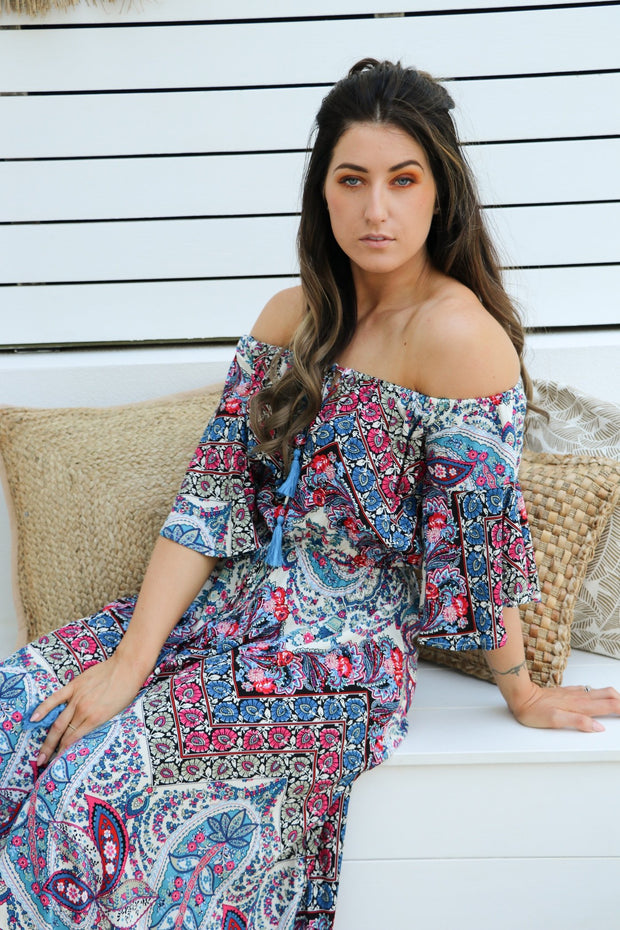 Paisley Floral Maxi Dress Feather Fox Boutique Gold Coast
