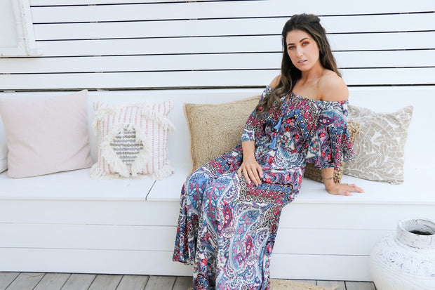 Paisley Floral Boho Maxi Dress Feather Fox Boutique Gold Coast