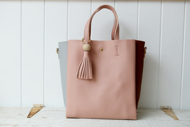 Pink, Grey & Tan Tote with Tassel