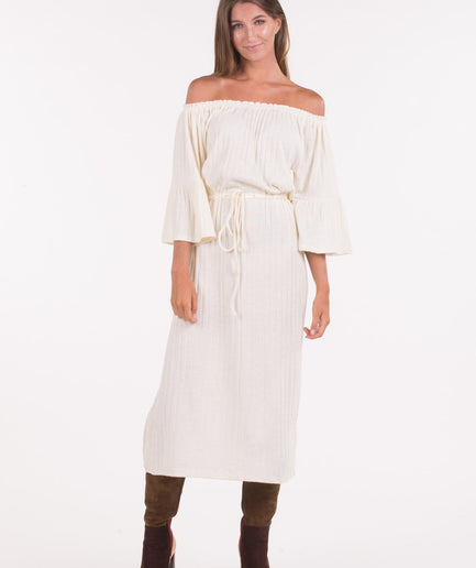Cream Ribbed Knit Dress